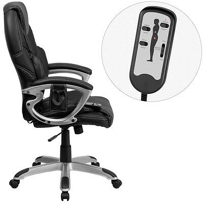 DUAL ZONE WIRED REMOTE MASSAGING HIGH BACK BLACK LEATHER HOME OFFICE DESK CHAIRS