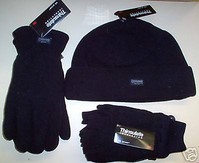 Mens Beanie & 2 pairs of Gloves Polar Snow Genuine thinsulate Black