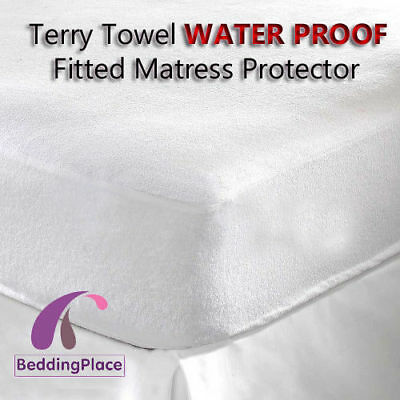 Terry Towel Waterproof Fitted Mattress Protector Cover All Sizes