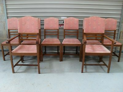 Set of 8 Edwardian inlaid mahogany and upholstered dining chairs