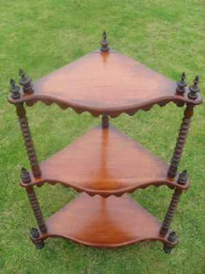 Victorian Mahogany 3 Tier Serpentine Fronted Wot-Not