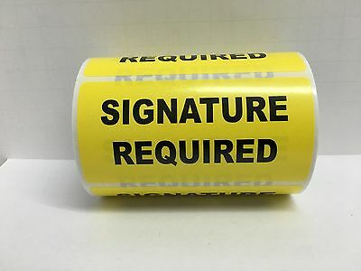 500 Labels of 4x2 Yellow SIGNATURE REQUIRED Special Handling Warehouse Rolls