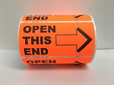 500 Labels 4x2 Bright Red OPEN THIS END / Arrow Special Handling Shipping Rolls