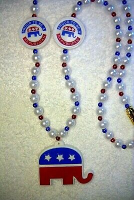 """""""proud To Be A Republican"""" Mardi Gras Necklace Bead...elephant  (B161)"""