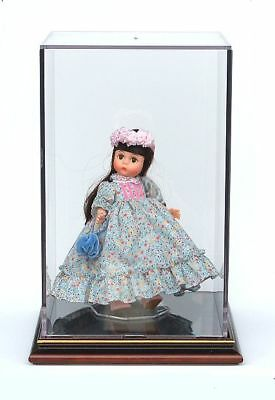 """Doll Display Case with Wood Base - 12"""" High"""
