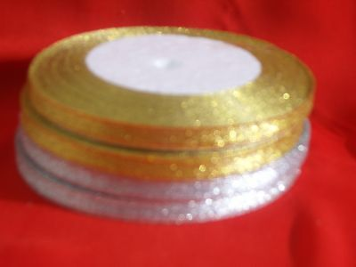 4 Rolls Metallic Gold & Silver Ribbon, size 6mm,25 Yrds each
