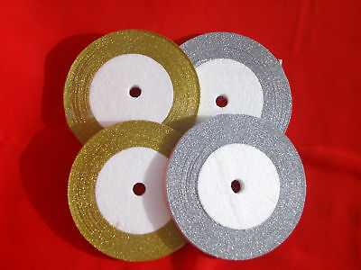 4 Rolls Metallic Organza 10 mm Gold & Silver Ribbon , 25 Yards each