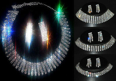 New Lot Fashion Set 1-5Rows Link Crystal Rhinestone Chocker Bib Necklaces