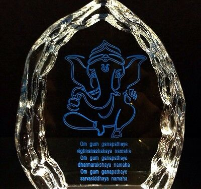 Ganesh Glass Ice Burg Paperweight, Statue, Hindu God - Free Engraving
