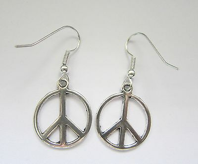 Vintage Silver Tone Peace Sign Charm Earrings New Kitsch Festival Hippie 60s 70s