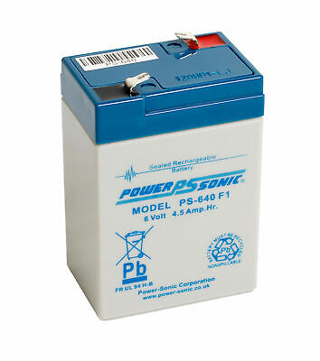 Power Sonic 6V 4.5AH (4AH) Rechargeable Battery Feber Peg Perego Injusa Toy Cars