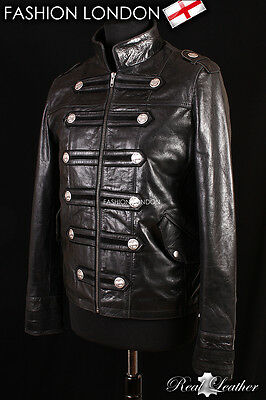 MEN MILITARY Cherry Real Cowhide Glaze Leather Jacket Parade Rock coat 4234