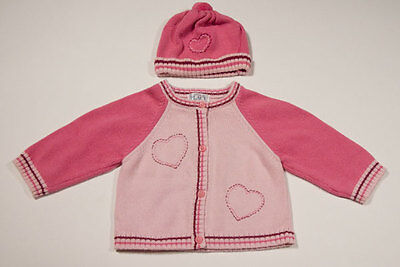 The Childrens Place Girls 12M Sweater Hat Pom Pom Pink Sweet Hearts Cardigan Tcp