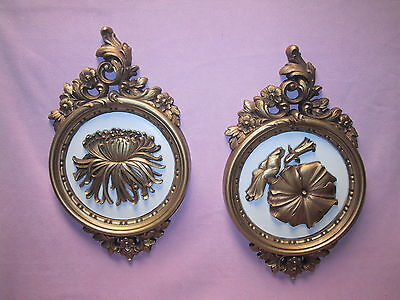 Pair Vintage HOMCO / Dart Gold Plastic Cameo Wall Plaques Stamped Dated 1977