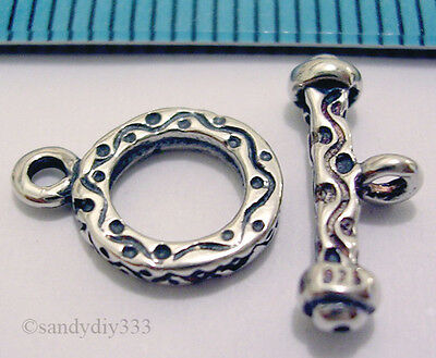 1x ANTIQUE STERLING SILVER BALI TOGGLE CLASP 8.6mm N004