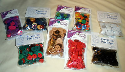 Favorite Findings Craft BUTTONS - 130 Per Pack - Variety of Colors - U Choose