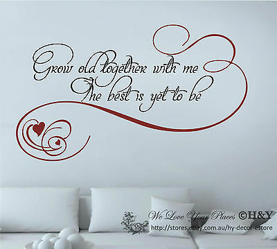 """""""Grow together with me"""" Wall Art Quote Removable Stickers Vinyl Decals Decor DIY"""