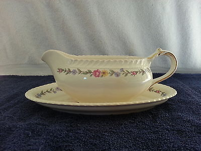 """Harker Pottery Royal Gadroon Gravy Boat and Liner in """"Bouquet"""""""