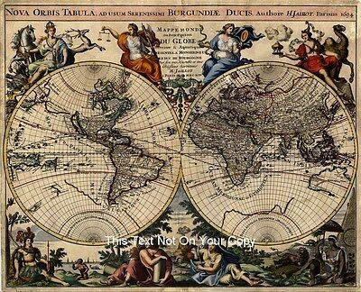 Alexis Jaillot's Reproduction Antique Old 1694 Decorated Color Colour World Map