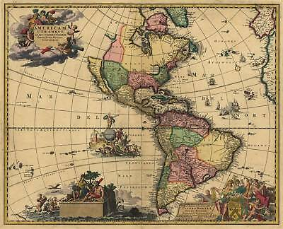 Old Antique 1700 Map North & South America by van Keulen Reproduction Map Plan