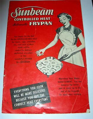 "Vintage 1953 Sunbeam Controlled Heat Automatic Frypan ""Recipe & Instruction Book"