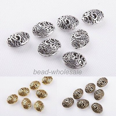 New 10PC Antique Tibetan silver Ellipse Shaped Hollow Spacer Bead Findings 2mm