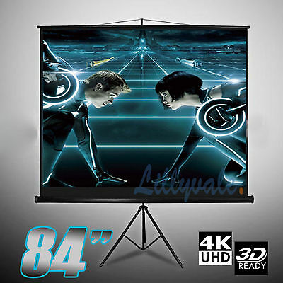 "84""Portable Tripod Projection Screen Presentation Projector 150X150CM Matt White"