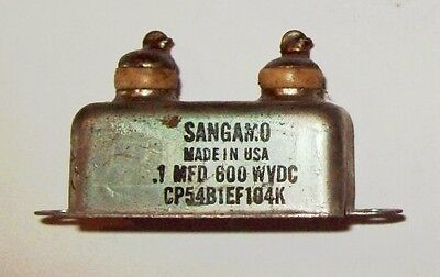 Recovered Sangamo 0.1Mfd 600VDC capacitor