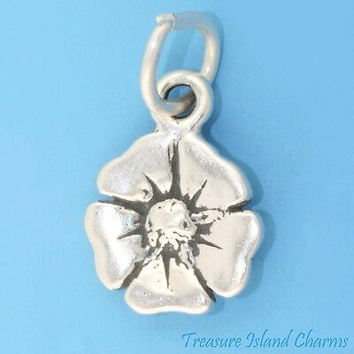 POPPY FLOWER .925 Solid Sterling Silver Charm NEW MADE IN USA