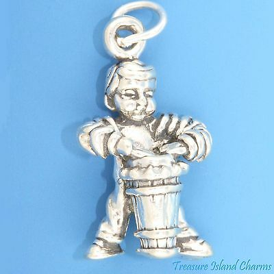 HEAVY BOY ON CONGA DRUM MAMBO CUBAN MUSIC 3D .925 Sterling Silver Charm