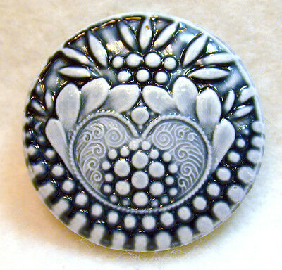 Handcrafted Art Stone Button Victorian Pattern Indigo FREE US SHIPPING