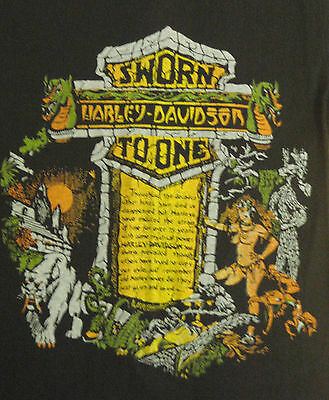 Vintage 70s HARLEY Tombstone T-shirt DRAGON Hawg BAR SHIELD Biker not 3D 80s