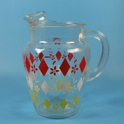Vintage Glass Beverage Pitcher Red White Yellow Diamonds Flowers