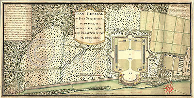 1749 Fort Septentrional French New Orleans Wall Map Louisiana