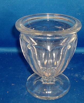 Heavy Weight Art Deco Molded Glass Rose Flower Vase Shaped Panels Thick