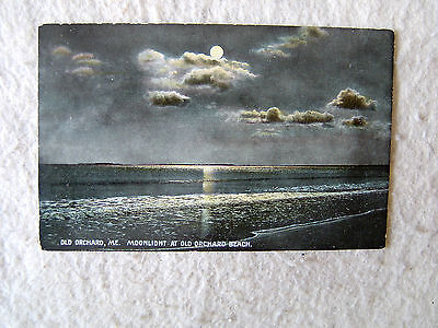 OLD ORCHARD, MAINE.  MOONLIGHT AT OLD ORCHARD BEACH. - EARLY 1900'S POST CARD