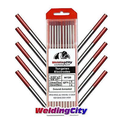 "10-pk TIG Welding Tungsten Electrode 2% Thoriated (Red) 3/32""-1/8"" 