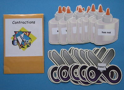 Teacher Made Literacy Center Resource Game Contractions