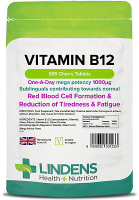 Vitamin B12 1000mcg Sublingual Lozenge Tablets (365 pack) [Lindens 1233]