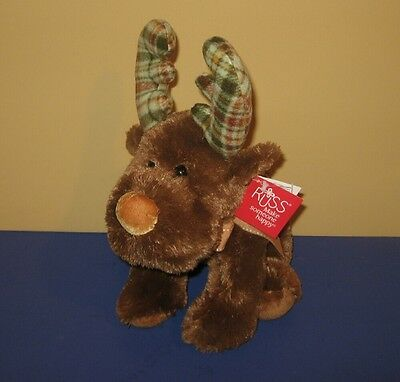 "New 13"" Russ Marty The Moose Bean Tush Stuffed Plush w/ Flannel Antlers 32742"
