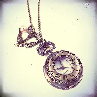 Bronze Swallow Pocket Watch Clock Necklace- Vintage Gold Jewellery-Antique-Pearl