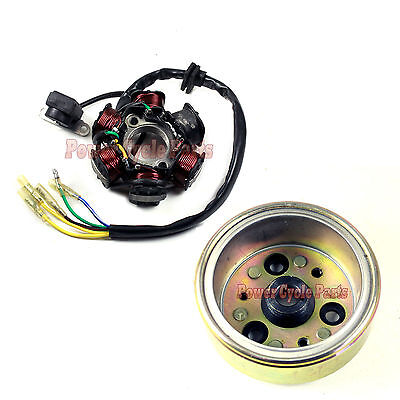 6 COIL MAGNETO STATOR & FLYWHEEL for 50cc 70cc 90cc 110cc 125cc ATV Dirt Bike