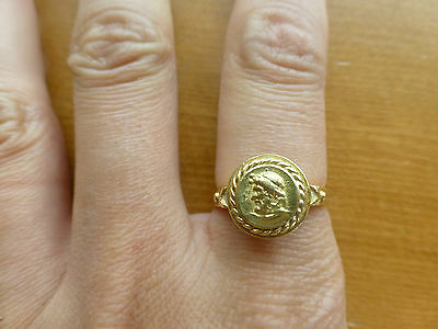 Seiden Gang Athena 18k yellow gold ring diamond left facing Greek GB ancient