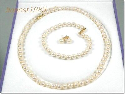 "GORGEOUS ROUND 6mm AAA+ WHITE AKOYA PEARL BRACELET EARRING SET 14K 18"" NECKLACE"