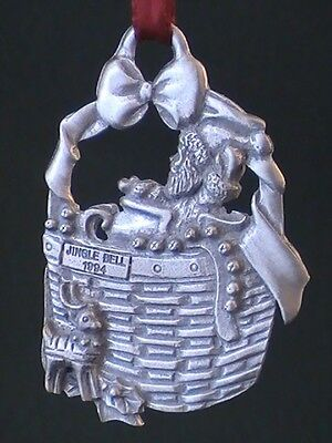 1994 LONGABERGER  Jingle Bell Basket PEWTER Ornament in Box FREE SHIPPING!