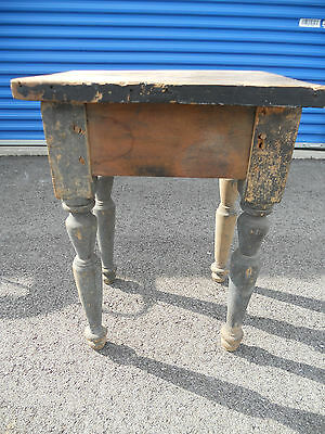 Antique Primitive Wood Table With  Old Gray Paint