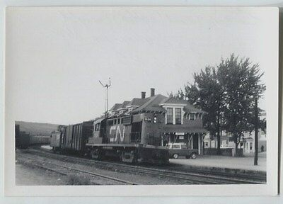 1967 Amqui Quebec Railway Railroad  Station vintage photo Two Car Fast Frieght