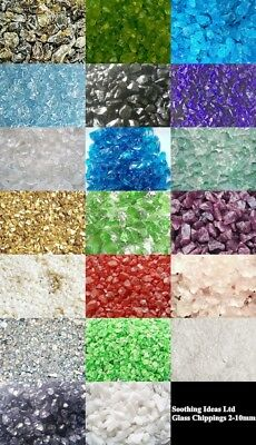 1kg Glass Chippings 4-10mm Home Garden Wedding Vase Craft 15 Colours