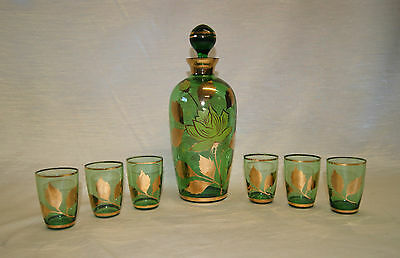 Vintage Green Glass w/ Gold Gilt Decanter Stopper & Six Cordial Glass Set
