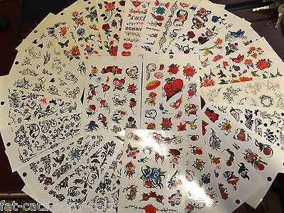 5 Sheets Girls Ladies Hearts Flowers Butterflies Celtic Bands Temporary Tattoos
